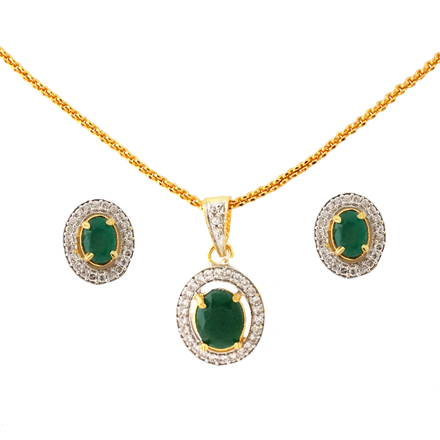 green ad chain pendant set