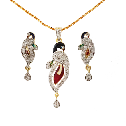 ad pendant set with meena